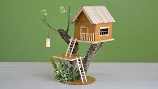 Wow! a house on a tree   making a small cardboard house  with light