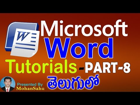 Ms Word Tutorials in Telugu Part - 8    LEARN COMPUTER TELUGU VIDEOS