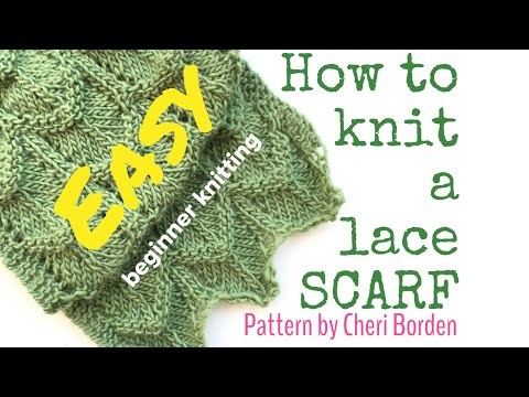 HOW TO KNIT A SCARF/LACE SCARF - Easy lace | TeoMakes