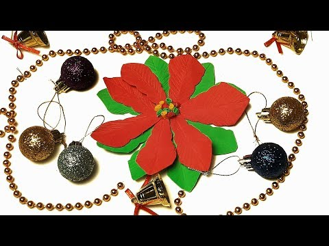How To Make Christmas Flower Poinsettia In Easy Way - DIY Poinsettia Out  Of Foamiran Sheets