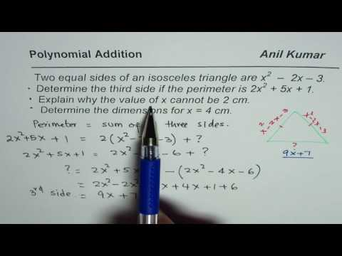 Given polynomial expression for side of isosceles triangle with perimeter find third side