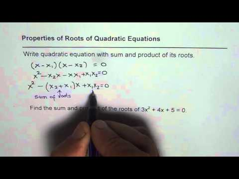 IMPORTANT How to Write Quadratic Equation with Sum and Product of Roots