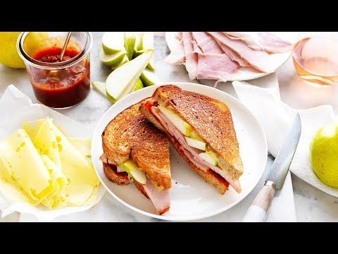 How to make chutney, leg ham, pear and Swiss cheese toasties