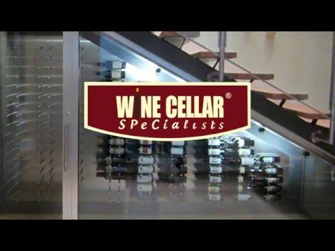 Modern **Custom Wine Cellar** in GLASS & brushed ALUMINUM