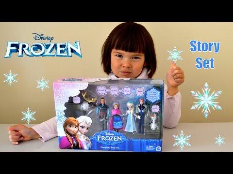 Frozen Movie Story Set: Elsa Anna Olaf Kristoff Hans small dolls Anna Play-doh Dress