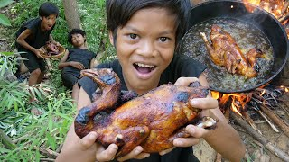 Survival Skills Primitive - Cooking and fried chicken recipe eting ep0029