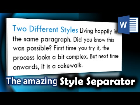 How to Create Inline Headings or Multiple Styles in one Line using Word's Style Seperator: