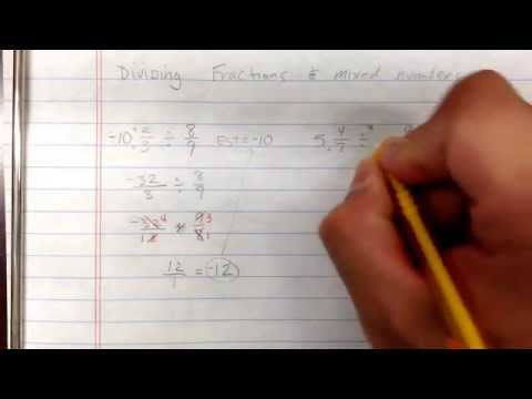 Dividing fractions and mixed numbers.