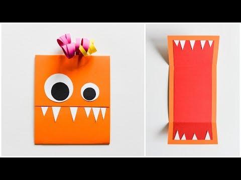 How to Make - Easy Greeting Card Monster Birthday Halloween - Step by Step DIY | Kartka Stworek