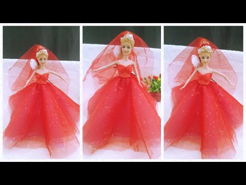Guiding how to sew wedding dress for barbie doll!! Fashion Designer