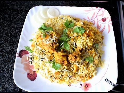Oven cooked Hyderabadi Chicken Biryani.