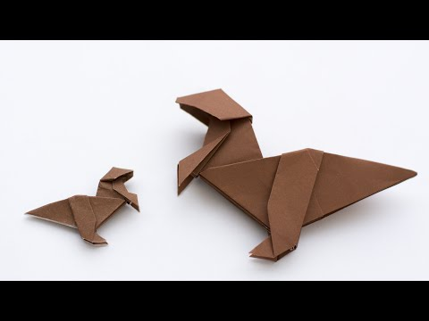 Origami Dinosaur. How to make paper dinosaur. Allosaurus
