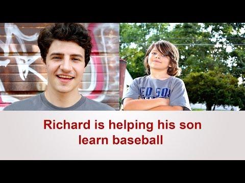 Richard is helping his son learn baseball