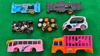 Assemble Animal Carrier Truck, Nano Police Car ,School Bus | Toy Vehicles Attached