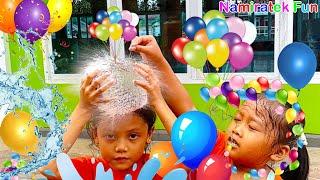 Anak Lucu Bermain Mandi Balon Bola Blow Up Mainan Anak Pecahkan Balon Air Slow Motion Video 960 fps