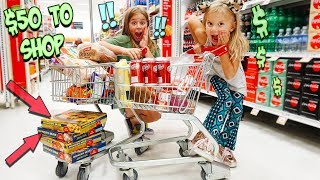 KIDS TRY THE $50 BUDGET TINY CART SHOPPING CHALLENGE!!