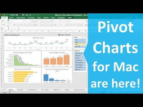 Pivot Charts for Mac Excel 2016