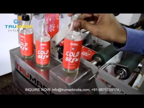 semi automatic round bottle labeling machine halbautomatische Etikettiermaschine
