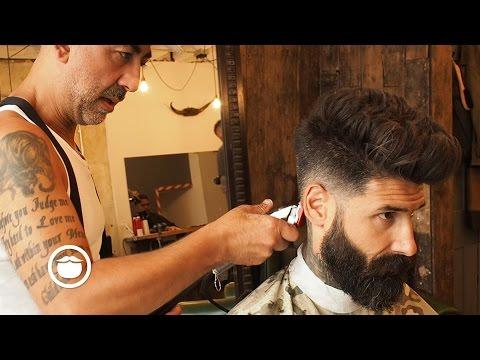 Natural Pompadour with Skin Fade Hair Cut | Carlos Costa