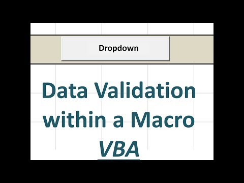Excel Macro - How to add a dropdown menu to a cell aka Data Validation