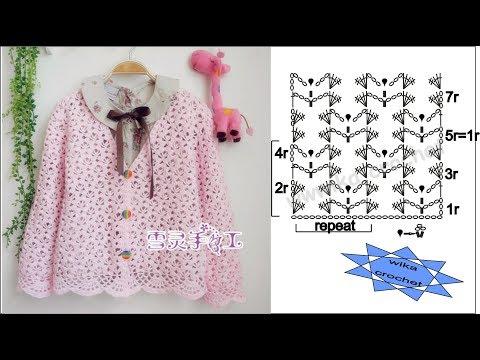 Lace jacket crochet pattern Shell stitch WIKA crochet