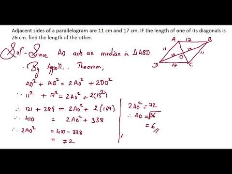 102: Similarity: Adjacent sides of a parallelogram are 11 cm and 17 cm. If the length of...