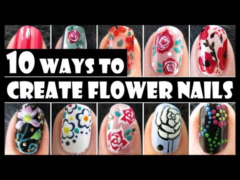 FLOWER NAIL ART COMPILATION  10 WAYS TO CREATE FLOWER NAILS   SUMMER HOW TO BASICS   MELINEY