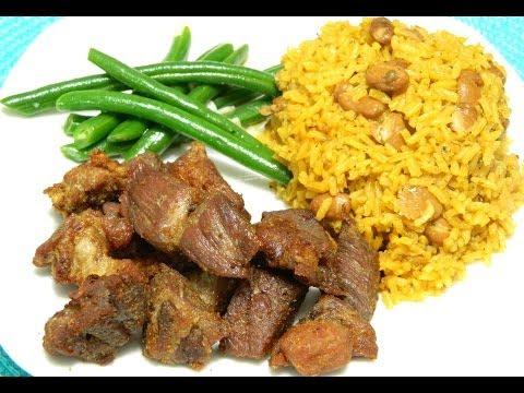 How to make Puerto Rican Carne Frita with Arroz con Habichuelas