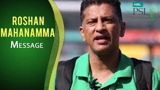 Match referee Roshan Mahanamma with a heartwarming message for Lahore