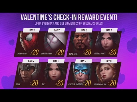 VALENTINES CHECK IN REWARD EVENT | Marvel: Future Fight (iOS/Android)
