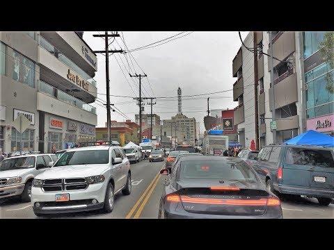 Driving Downtown - LA's Massive Market District - Los Angeles USA