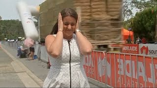 News blooper: Truck takes out finish line at Australian cycle race