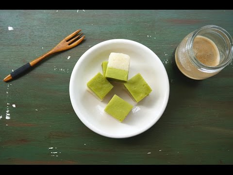 Kuih Serimuka {Glutinous Rice with Pandan Custard Layer}