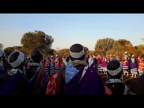 Masai women dancing during 'Endomon', circumcision ceremony, Tanzania