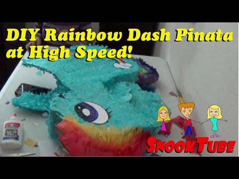 Homemade DIY Rainbow Dash Pinata at high speed