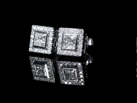 5/8 CTW Princess Cut Diamond Halo Stud Fashion Earrings in 14K White Gold