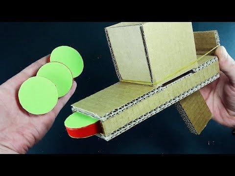 DIY | PLASTIC BOTTLE LIDS SHOOTER USING CARDBOARD | HOMEMADE TOYS