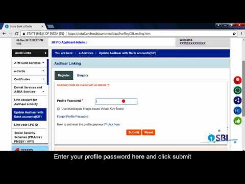 SBI RINB- How to Link Aadhaar No. to your Bank A/C or CIF No. via OnlineSBI