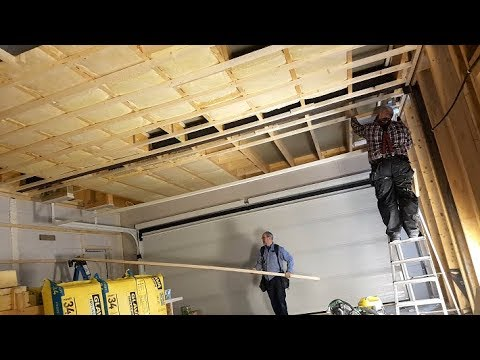 Insulation and ceiling furring strips in the #jarleifhouse garage!