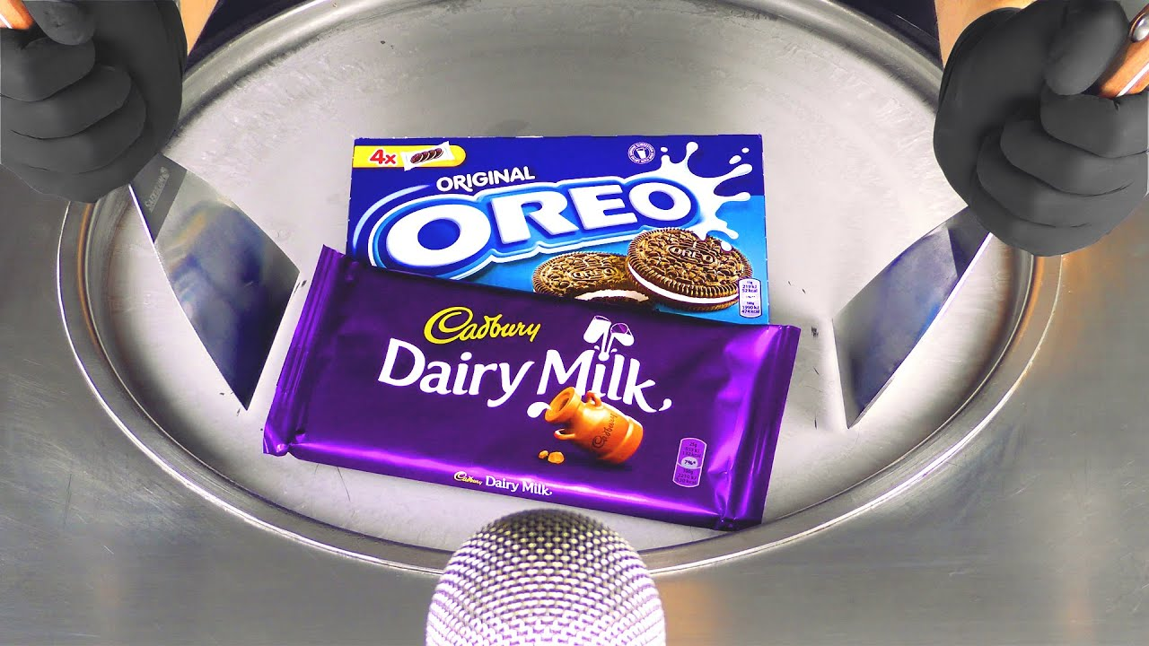 ASMR - Cadbury & OREO Ice Cream Rolls | making Dairy Chocolate and Cookies to rolled fried Ice Cream
