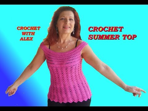 CROCHET TOP DOWN BLOUSE BOAT NECK ANY SIZE TUTORIAL EASY AND QUICK TO DO
