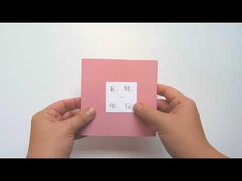 Kathleen & Yonatan; custom wedding invitations, pink, square fold-out stationery