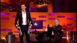 tom holland practices planet of the apes moves the graham norton show