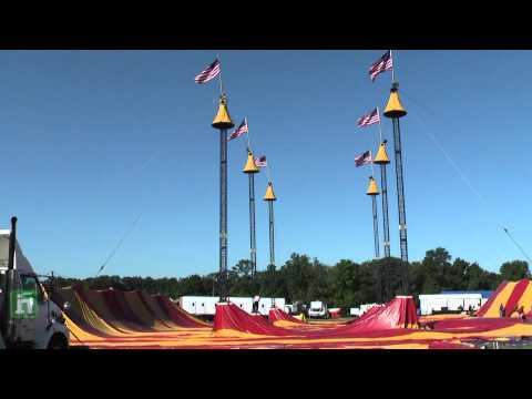 Cole Bros. Circus of the Stars tent raising near Manassas, Virginia