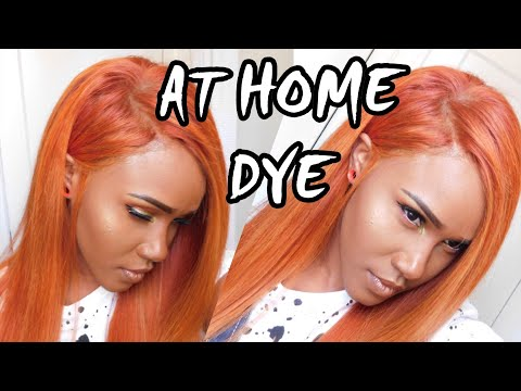 DYE HAIR RED COPPER WITH BLONDE HIGHLIGHTS AT HOME|LACEFRONT WIG DIY