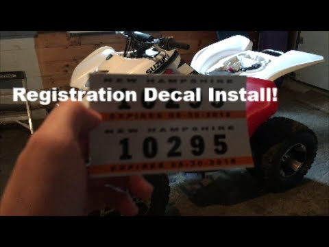 How to Install New Hampshire ATV Registration Decals!