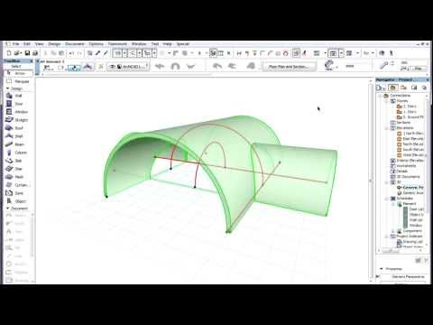 ARCHICAD's Intelligent connections - Simple trimming of elements to roofs and shells