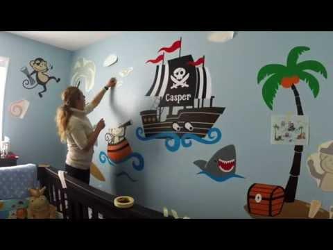 Custom nursery wall decor - Monkey Pirates at Sea - Baby room ideas