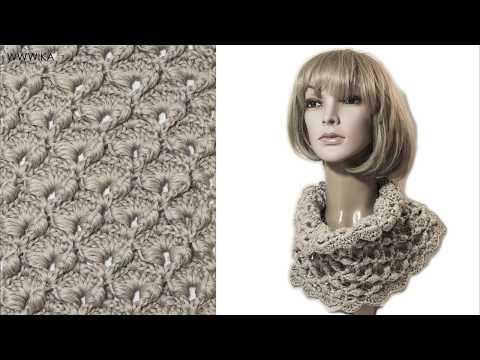 Crochet textured scarf Cowl Puff stitch Wika crochet DIY