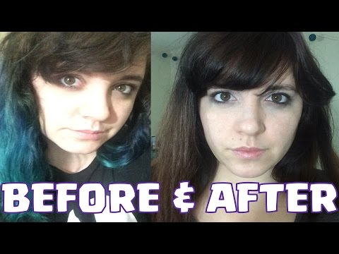 ►DYING MY HAIR◄ From Blue/Greenish Color to Brown // How to and Steps \\